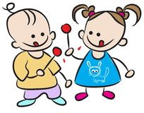 Children eating candy. Line art work Royalty Free Stock Photo