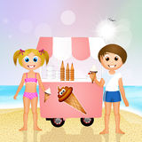 Children eating ice cream on the beach. Illustration of children eating ice cream on the beach Royalty Free Stock Images