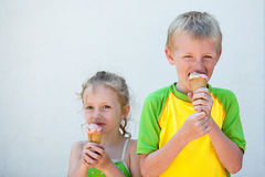 Children eating ice cream cones Stock Photo