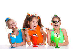 Children eating icecream Royalty Free Stock Image