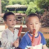 Children eating kebab Stock Photography