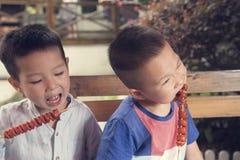 Children eating kebab Royalty Free Stock Photo