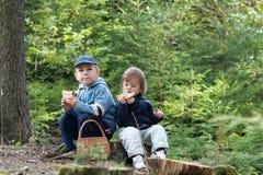 Children eating picnic stock image