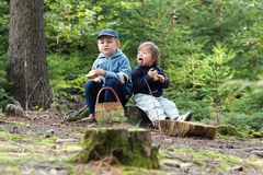 Children eating picnic royalty free stock photography