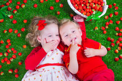 Children eating strawberry. Child eating strawberry. Little girl and baby boy play and eat fresh ripe strawberries. Kids with fruit relaxing on a lawn. Children Stock Photos