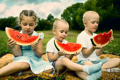 Children eating watermelon outdoor Stock Photography