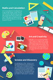 Children education info graphic activities and stationary templat Royalty Free Stock Images