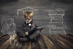 Children Education, Kid Read Book, School Boy Reading Books. Children Education, Kid Read Book, School Boy Reading Dreaming About Books over Blackboard Royalty Free Stock Photography