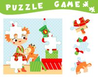 Children educational game. Christmas and new year puzzle for toddlers, babies and kids. Place missing parts of picture.  royalty free illustration