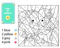 Children educational game. Coloring page with cute cloud. Color by numbers, printable activity. Worksheet for toddlers and pre school age royalty free illustration