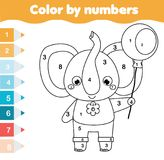 Children educational game. Coloring page with elephant. Color by numbers, printable activity. For toddlers and pre school age. Animals theme Stock Image