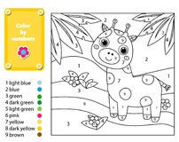 Children educational game. Coloring page with giraffe in jungle. Color by numbers, printable activity. Worksheet for toddlers and pre school age. Animals theme royalty free illustration
