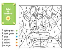 Free Children Educational Game. Coloring Page With Cactus Plant. Color By Numbers, Printable Activity For Kids Stock Photography - 117122112