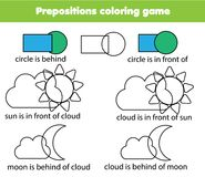 Children educational game. Learning prepositions