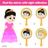 Children educational game. Matching pairs. Find the correct reflection Royalty Free Stock Images
