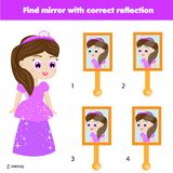 Children educational game. Matching pairs. Find the correct reflection in mirror. Children educational game. Kids activity. Matching pairs. Find the correct Stock Photo