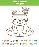 Children educational game. Mathematics actvity. Color by numbers, printable worksheet. Coloring page with cute bear. Learning addition and subtraction Royalty Free Stock Photography