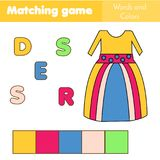 Children educational game. Words puzzle. Match by color and place the letters in right order. Learning vocabulary. Worksheet for pre school years kids and Royalty Free Stock Image