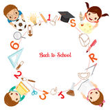 Children With Educational Instruments Icons On Circle Frame Stock Photos