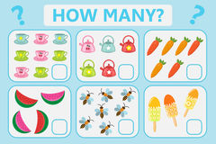 Children educational logic game. Mathematical task. How many. Vector illustration. Royalty Free Stock Photography