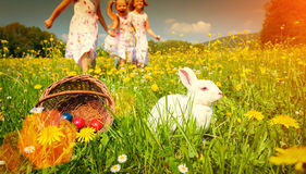 Children on egg hunt for Easter with rabbit on meadow Royalty Free Stock Image