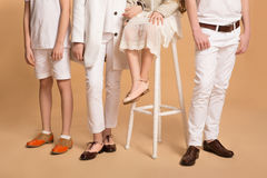 Children in an elegant and modern clothes and shoes. Isolated Royalty Free Stock Images