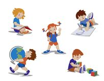 Children in elementary school. Kids drawing, learning, reading, playing. vector illustration