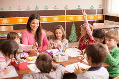Children in elementary school on the workshop with their teacher Royalty Free Stock Photo
