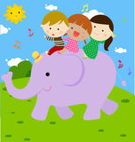 Children and elephant Stock Image