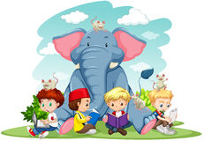 Children and elephant on the lawn Stock Image