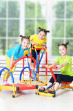 children engaged in physical training Royalty Free Stock Photo