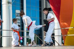 Children are engaged in Taekwondo Stock Image