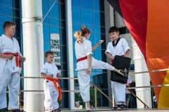 Children are engaged in Taekwondo Stock Photos