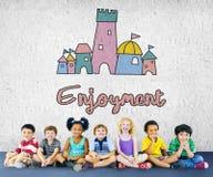 Children Enjoy Castle Joyful Concept Royalty Free Stock Images