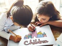 Children Enjoy Castle Joyful Concept royalty free stock photo