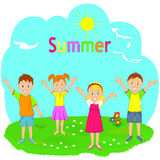 Children enjoy coming summer on a green meadow Stock Photos