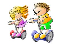 Children enjoy a ride on segway. A boy and a girl having fun and playing on segway. Conceptual illustration about ecological transport Vector Illustration