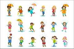 Children Enjoying The Rain. Childish Cartoon Style Cute Vector Illustration On White Background stock illustration