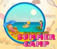 Kids making sand castle in summer camp vector illustration