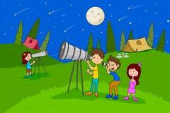 Children enjoying summer camp star gazing activities. In vector Royalty Free Stock Photo