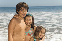 Children Enjoying Vacation On Beach royalty free stock photos