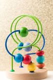 Children enlighten intellectual toys. Take close-up shots of children`s toys stock images