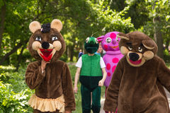 Children entertainers in animal and fairy characters costumes. Zaporizhia/Ukraine- May 28, 2017: Charity Family festival - children entertainers in animal and stock image