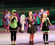 Children entertainers. Variety show with the participation of children of artists on the stage of children's Palace of children and youth. Kiev stock photography