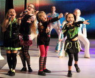 Children entertainers. Variety show with the participation of children of artists on the stage of children's Palace of children and youth. Kiev stock images