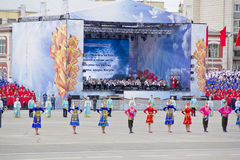 Children entertainment in honor of annual Victory Day Royalty Free Stock Photos