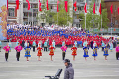 Children entertainment in honor of annual Victory Day Stock Photo