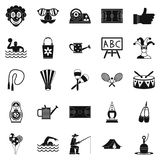 Children entertainment icons set, simple style Stock Images
