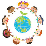 Children environment Eco tying a hand. The world child who thinks about an environmental problem Stock Images