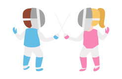 Children epee fencing lunge competition activity kid in pink and blue uniform with mask and weapon swordplay attack Royalty Free Stock Photography